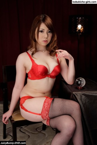 AV Idol Reika Ichinose in super sexy red hot lingerie, garters, high heels and pantyhose stockings. Reika shows her soft boobs and firm round ass as she strips naked only to be tied in Japanese ropes and restraints while she spreads her shaved pussy.